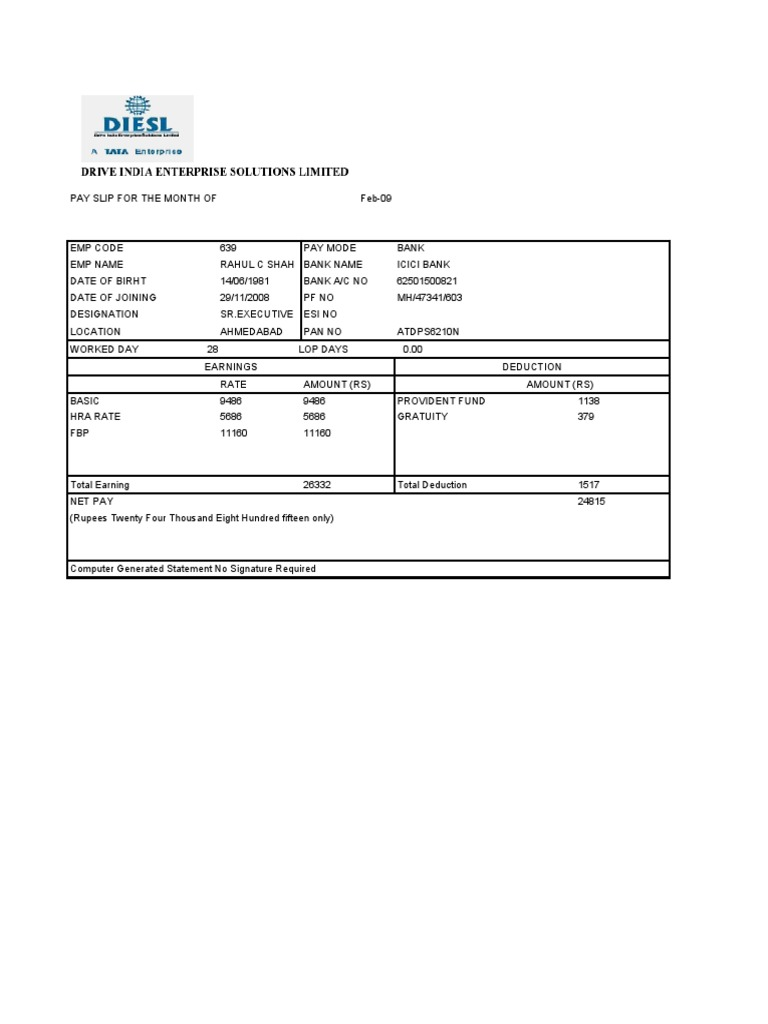 Pay Slip For Month Of Oct 09 Public Finance Government Finances