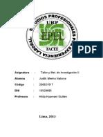 Trabajo de Investigacion - Curso Taller de Met. Investigacion Decimo Ciclo