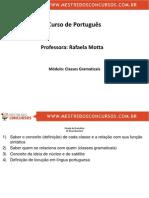 Rafaela Motta Portugues , Classes Gramaticas