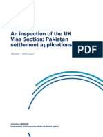 An Inspection of the UK Visa Section Pakistan Settlement Applications