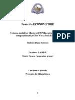 Proiect Econometrie Dobrescu Diana