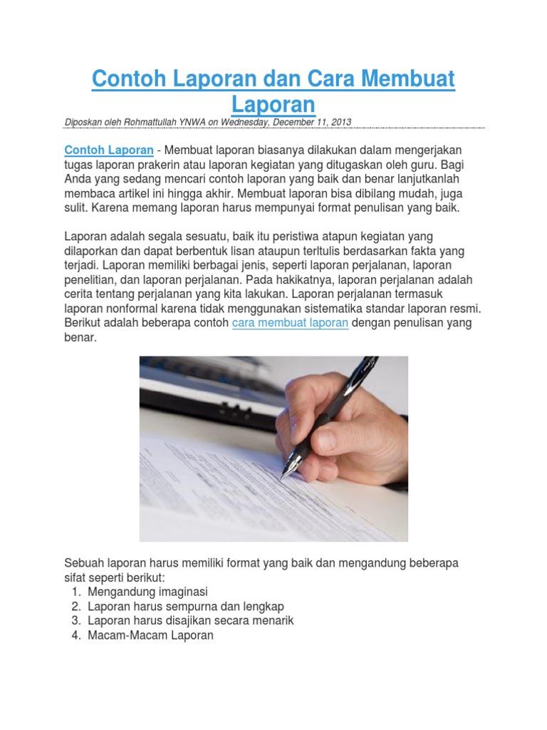 Dokumen Serupa Dengan Contoh Laporan Dan Cara Membuat Laporan