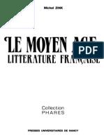 Michel Zink Le Moyen Age Litterature Francaise 1990