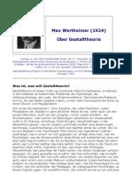 Wertheimer, M. (1924). Über Gestalttheorie