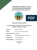 Caracterizacion de Los Residuos Solidos Domiciliarios de Naranjillo- Distrito de Luyando