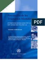 Prevention of Mental Disorders Spanish Version