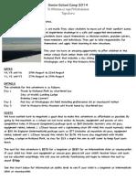 Ruapehu Camp Newsletter 1