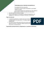 Requerimientos Funcionales Del Proceso de Matricula
