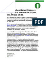 TV1 launches Game Changers  competition to mark the Day of  the African Child.