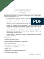 DECLARATION CASABLANCA 14/06/2014