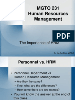MGTO 0231 -- The Importance of HRM