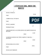 Fechas Cívicas Del Mes de Mayo