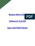 Conférence sur les rythmes scolaires (12/6/2014)