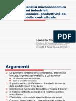 Elementi di analisi macroeconomica delle relazioni industriali.Crescita economica, produttività del lavoro e modello contrattuale