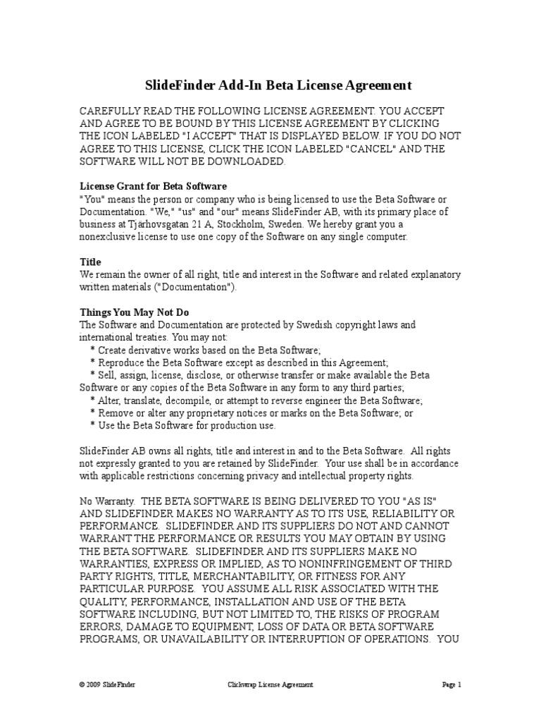 Slidefinder Add In License Agreement License Indemnity