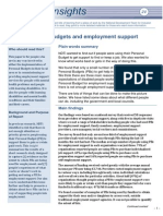 Insights 21 Personal Budgets and Employment Support