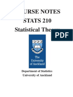 Course Notes Stats 210 Statistical Theory