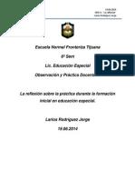 Ensayo. La Reflexión Sobre La Práctica Durante La Formación Inicial en Educación Especial. Jorge Larios