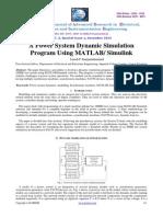 Power system dynamics simulation