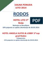 Specijalna Ponuda Rodos Za Uplate Do 30.05.2014