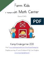 Farm Kids Addition Math Center Sums Of