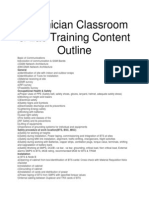 Technician Classroom & Lab Training Content Outline
