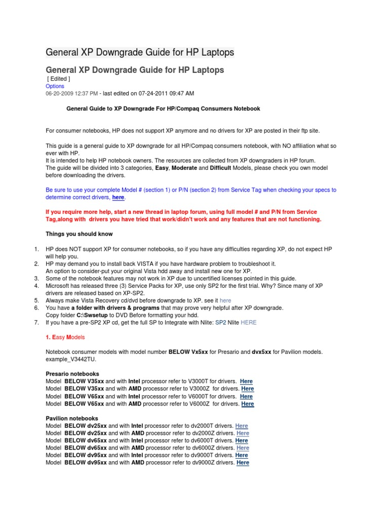 General XP Downgrade Guide for HP Laptops | Advanced Micro