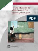 025. Por Una Educación de Calidad Para El Perú. Estándares, Rendición de Cuentas y Fortalecimiento de Capacidades