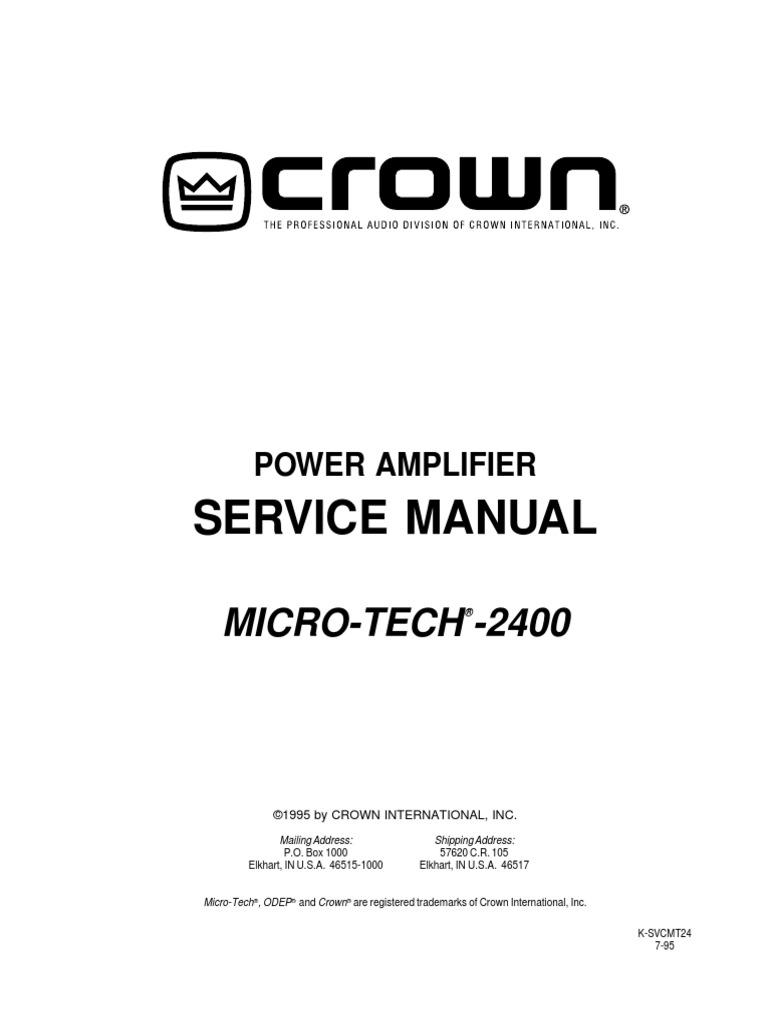 Crown Micro Tech Mt 2400 Sm No Sch