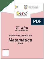 Prueba Modelo Matematica 3ro Bachillerato