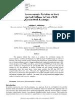 Impact of Macroeconomic Variable on Stock Prices in Pakistan