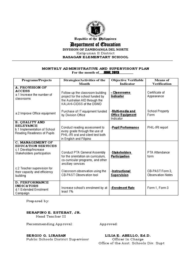 monthly administrative and supervisory plan docx