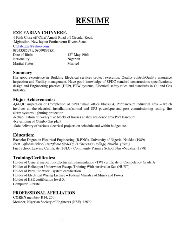 Luxury Electrical Qc Inspector Resume Gift - Example Resume Ideas ...