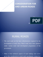 Design Consideration for Rural and Urban Roads