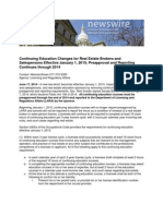 Continuing Education Changes for Real Estate Brokers and Salespersons Effective January 1, 2015; Preapproval and Reporting Continues Through 2014