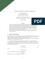 Ginzburg Landau Theory of Superconductivity
