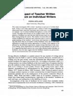 The Impact of Teacher Written Feedback on Individual Writers