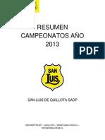 Resumen Campeonatos Año 2013