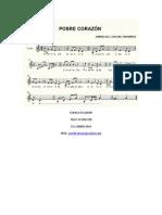 Partitura de Pobre Corazón- Para Violín Cuenca -Ecuador