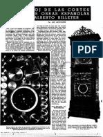 Alberto Billeter - En ABC, 'El Reloj de Las Cortes y Otras Obras Españolas de Alberto Billeter' (I)