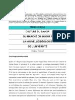 Culture du savoir ou marché du savoir ? La nouvelle idéologie de l'université.