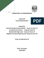 Práctica 9 Laboratorio de Termodinámica