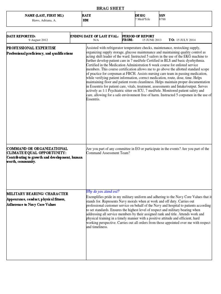 123 Brag Sheet 2 Clinical Medicine Health Sciences