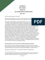 Fred F Murray Testimony IRS Oversight Board 5-1-13