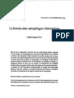 La Historia Entre Antropologos e Historiadores