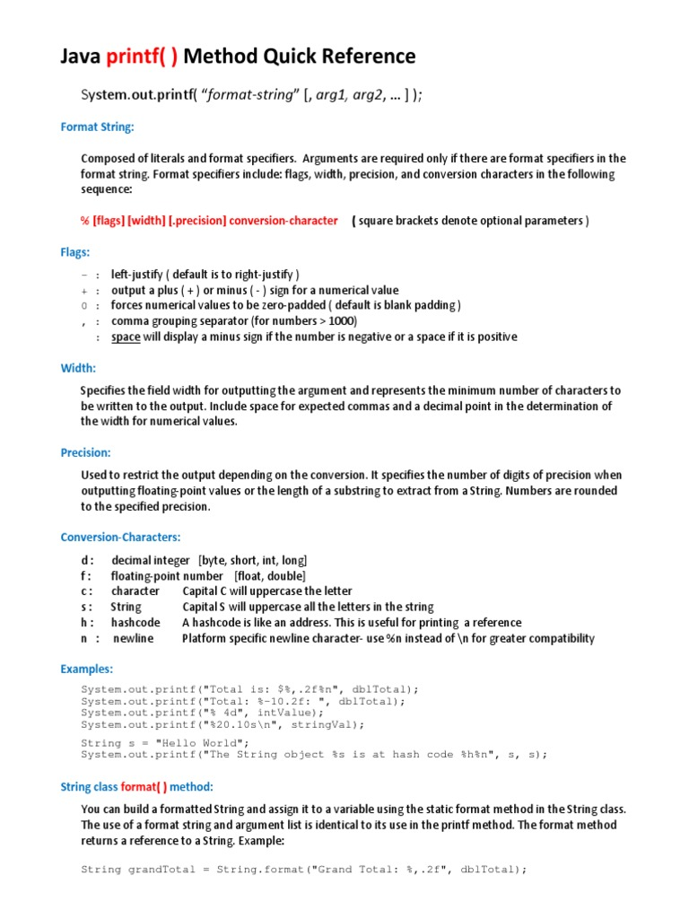 Java printf method quick reference string computer science java printf method quick reference string computer science significant figures baditri Gallery