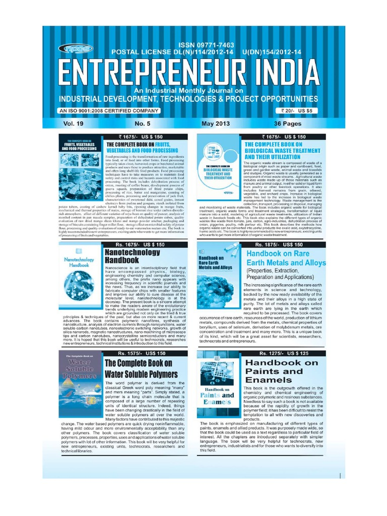 Entrepreneur India Monthly Magazine May 2013 | Paperboard | Plastic