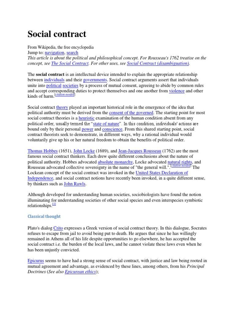 Social Contract Social Contract Political Science