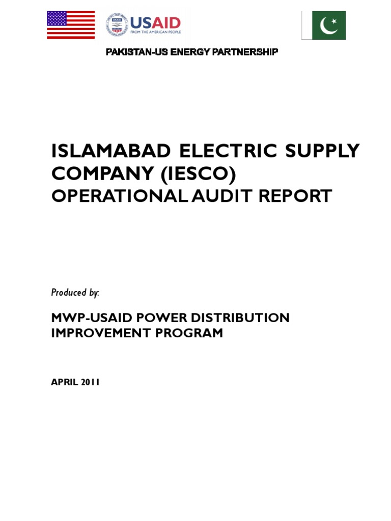 Iesco Audit Report Employment Pcbased Electric Power System Analysis Softwarepackage For
