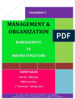 Semester 2 Assgn. 2, Bureaucratic vs Matrix Structure